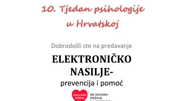 """Predavanje """"Elektroničko nasilje"""" – prevencija i pomoć"""