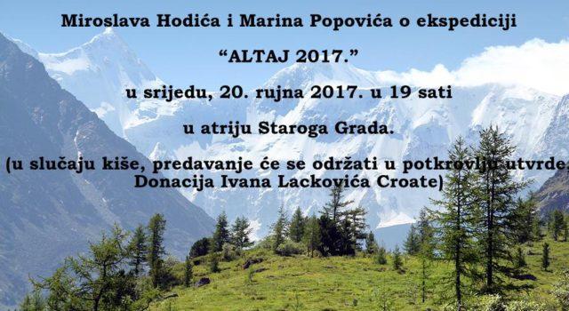 Predavanje Miroslava Hodića i Marina Popovića o ekspediciji 'Altaj 2017.'