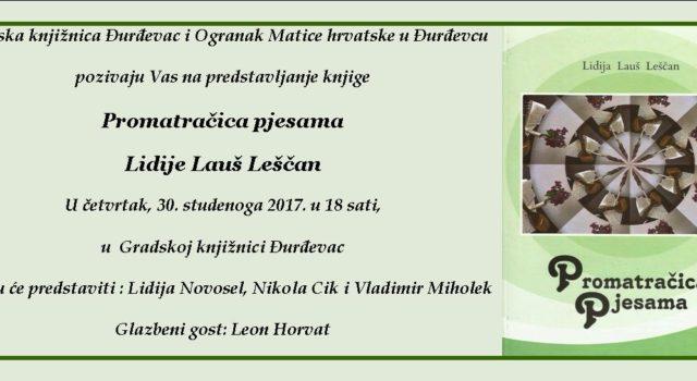 Predstavljanje knjige Promatračica Pjesama Lidije Lauš Leščan