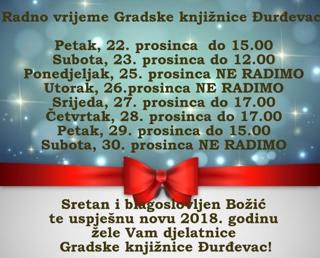 Radno vrijeme Gradske knjižnice Đurđevac