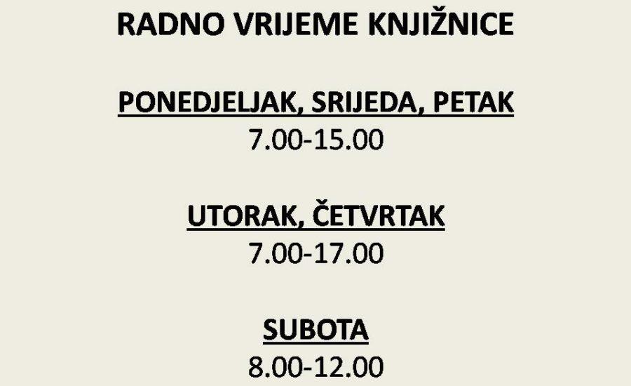 Obavijest o novom radnom vremenu Gradske knjižnice Đurđevac, počevšiod 3. rujna 2018.